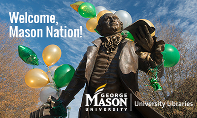 George Mason statue with green and gold balloons. Photo by Evan Cantwell/Creative Services/George Mason University